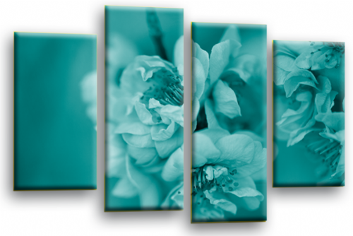 Floral Flower Wall Art Picture Teal Grey Spring Blossom Print Split